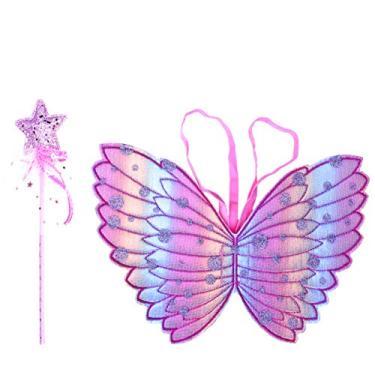 Imagem de NUOBESTY 2 peças de fantasia de princesa de asas de fada borboleta anjo fantasia de Natal