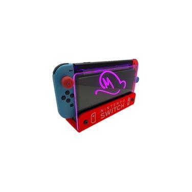 Suporte Bancada/Parede Nintendo Switch Iluminado - Mario Odyssey - Base Vermelho LED Rosa