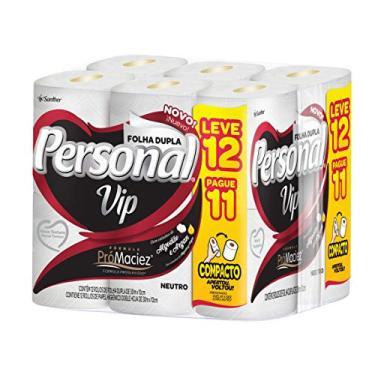 Papel Higiênico VIP Folha Dupla, Personal, 12 unidades, Branco (Embalagem pode variar)