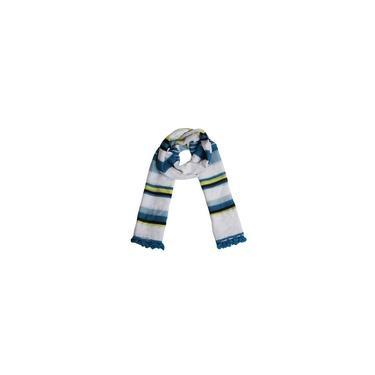 Echarpe Branca Com Listras Azul E Verde Em Algodão 180X90Cm