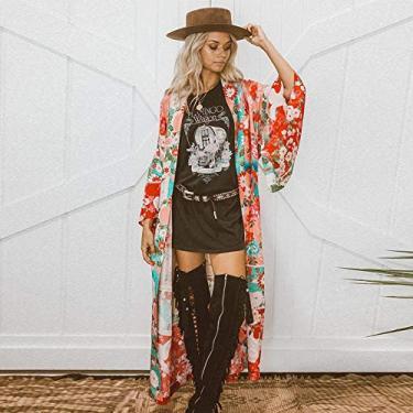 Encobrimentos Boêmios,Baugger Novas mulheres Chiffon Kimono Cardigan Floral Imprimir manga comprida Outerwear Bikini Cover Up Orange