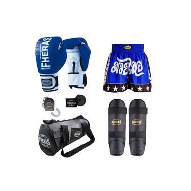 Kit Boxe Muay Thai Oríon - Luva Bandagem Bucal Caneleira Bolsa Shorts - Azul/Branco