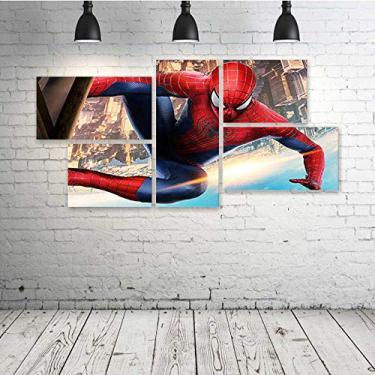 Quadro Decorativo - The-Amazing-Spider-Man-New - Composto de 5 Quadros