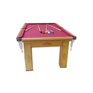 Mesa de Snooker/Sinuca Procópio Residencial Cerejeira Tecido Vinho