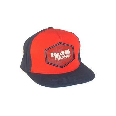 Boné Red Nose Snapback com ajuste em Couro Vermelho e Preto 4c703f1b9d5