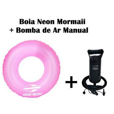 Kit 01 Boia inflável neon Rosa Mormaii+ Bomba de Ar Manual Bel fix