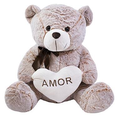 """Imagem de Urso C/Coracao Em Branco """"Amor"""" Marrom 50Cm, Foffylandia, Marrom"""