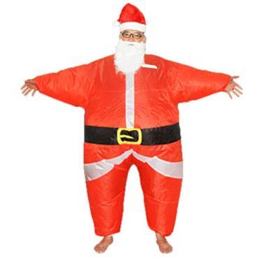 Imagem de NUOBESTY Fantasia inflável de Papai Noel de Natal desenho animado inflável vestido de festa cosplay (160-190 cm) vermelho
