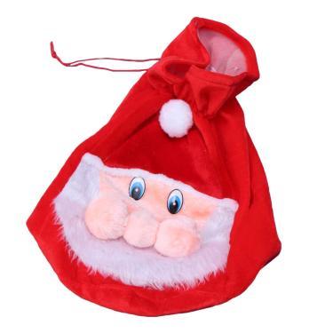 Bolsa portátil com tema natalino BESPORTBLE, bolsa de veludo com estampa de rosto de Papai Noel, bolsa de presente, lembrancinhas de festa em casa (tamanho grande)