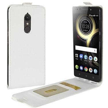 Zl One Compatível com/Substituição para Capa de telefone Lenovo K8 Couro Poliuretano Proteção Cartão Compartimentos Capa carteira Capa flip (Branco)