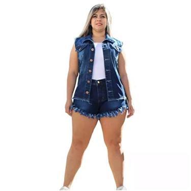 Short Feminino Jeans Lycra Plus Size Detalhe Desfiado Tamanho:46;Cor:Azul