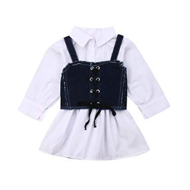 Imagem de 1-6 Anos Meninas Vestido de Manga Comprida Botão Branco Lapela Vestidos com Jeans Strap Colete 2 Peça (Branco, 2-3 anos)