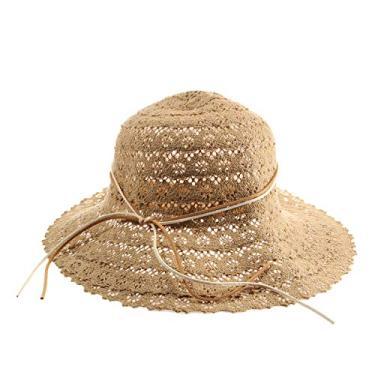 SOIMISS Chapéu de praia dobrável de renda oco Chapéu de sol ao ar livre para férias de verão Protetor solar Chapéu de aba larga Chapéu de balde (cáqui)