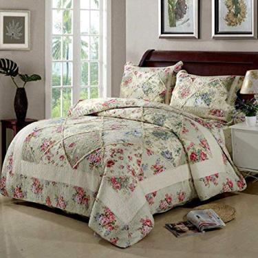 Imagem de PJPPJH Conjunto de colcha de algodão e patchwork, 3 peças, cobertor, colcha de cama, capa de cama, cobertor, tamanho King, adequado para as quatro estações,