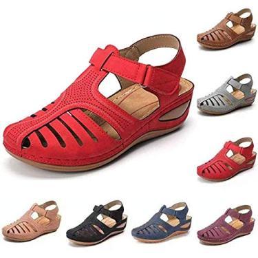 Imagem de ZYH Sandálias femininas de couro sintético macio, rasteirinhas casuais, sandálias de bico redondo ortopédico premium, sapatos de praia de verão, sandálias de bico fechado antiderrapantes, Vermelho, 10