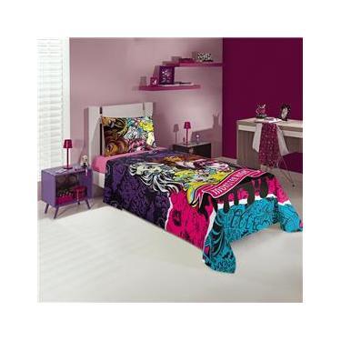 Jogo de cama infantil com três peças estampa Monster High 1,50x2,10 - Lepper