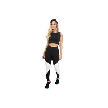 Imagem de Cropped e Calça Legging Fitness Feminino Preto e Branco GR Esporte