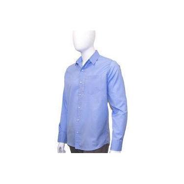 Camisa Social Masculina Manga Longa Azul Claro Bom Pano f90934a4542f8