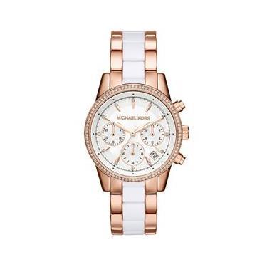 Relógio Michael Kors Feminino Ritz Rosé e Branco Cronógrafo MK6324 5BN bf93c5ca7e