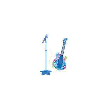 Imagem de Guitarra Infantil C Microfone Pedestal Toca Mp3 Luz Som Azul