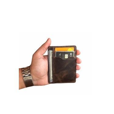 Carteira Slim Pouco Volume Tabaco Porta Cartão Cnh Cédulas Cartões