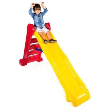 Imagem de Escorregador infantil Grande 4 degraus vermelho e amarelo