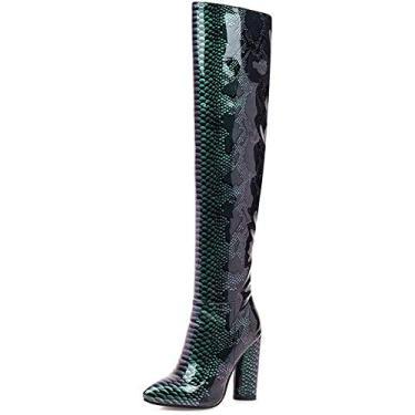 Imagem de PLAYH Botas longas de salto grosso, botas femininas de salto alto alto acima do joelho, zíper lateral bota feminina estilo cavaleiro (cor: verde, tamanho: 37)