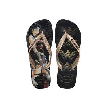 Chinelo Feminino Havaianas Batman Vs Superman Mulher Maravilha Preto/Rose Gold