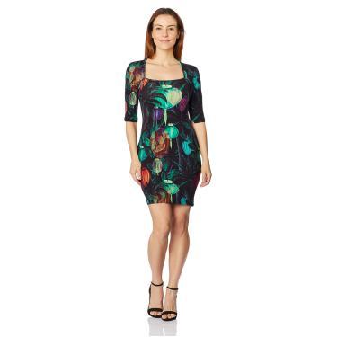 Vestido Curto Estampado Sommer, Feminino, Multicolorido, P