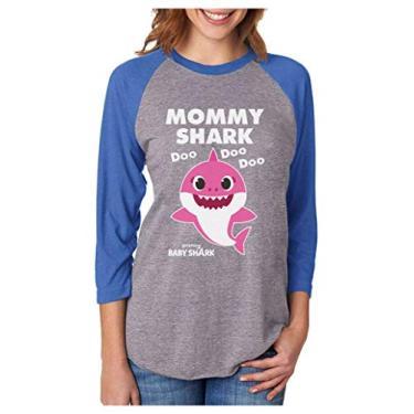 Mommy Shark Camisa de beisebol feminina manga 3/4 tubarão bebê mãe, 2021 Azul/Cinza, XXL