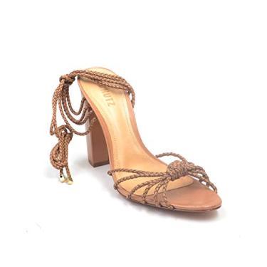 Schutz Eulalie sandália de bico aberto com salto e bico aberto, Tan, 9