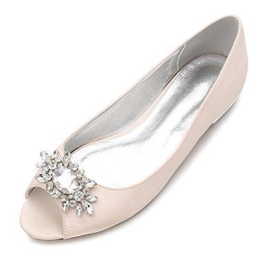 MarHermoso Sapatilha feminina peep toe elegante de cetim para casamento balé de noiva, Champagne, 9