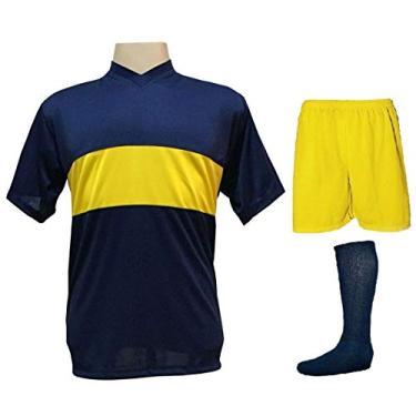 Imagem de Uniforme Esportivo Completo modelo Boca Juniors 14+1 (14 camisas Marinho/Amarelo + 14 calções Madrid Amarelo + 14 pares de meiões Marinho + 1 conjunto de goleiro) + Brindes