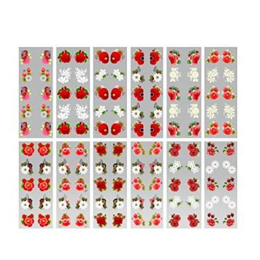 Imagem de 240 Películas 3D Para Unhas Decoradas Rosas Vermelhas M-848