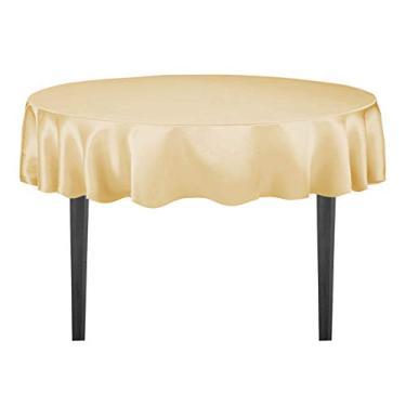 Imagem de LinenTablecloth Toalha de mesa redonda de cetim de 178 cm dourada