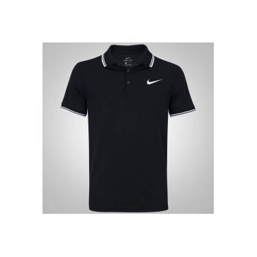 Camisa Polo Nike Court Dry Solid - Masculina - PRETO BRANCO Nike 3aa1b03d734a2