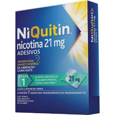 NiQuitin 21mg Adesivos para Parar de Fumar com 7 unidades Perrigo 7 Adesivos Transdérmicos