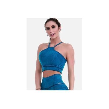 Top Dupla Face Sleek Azul Cajubrasil