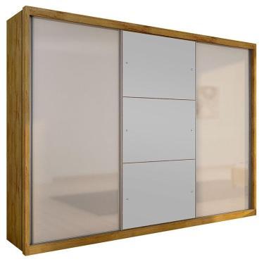 Imagem de Guarda-Roupa Casal 3 Portas com Espelho Paradizzo Gold- Novo Horizonte - Freijo dourado / Off white