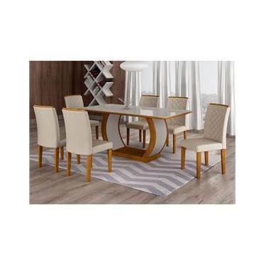 Conjunto de Mesa de Jantar com 6 Cadeiras Maia III Veludo