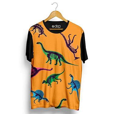 Camiseta Dep Dinossauros Coloridos Laranja (M)