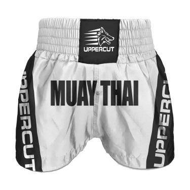 Calção Short Muay Thai Premium Branco/Preto - XG