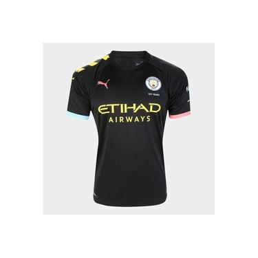 Camisa Manchester City Away 19/20 Torcedor Puma Preto e Laranja