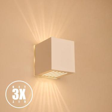 Kit 3 Arandelas Luminária Frisada Efeito Parede Externa/ Int Muro