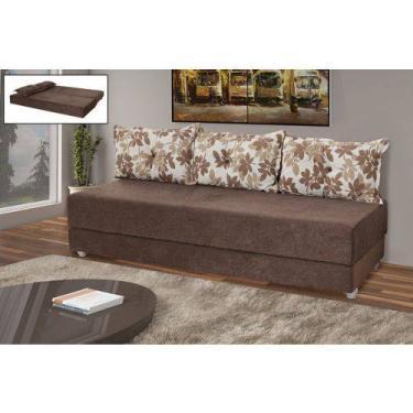 Sofá cama 3 lugares Bicama Sued Marrom com almofadas marrom /floral -