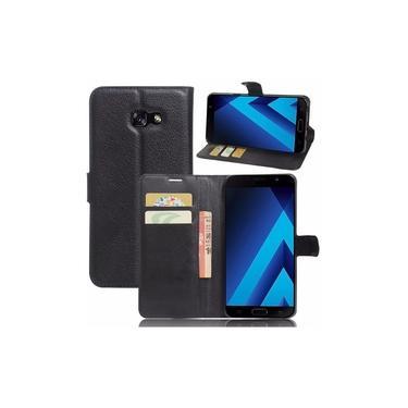 Capa Carteira (PRETA) Flip Antishock Porta Cartão P/ Samsung Galaxy A7 2017 A720