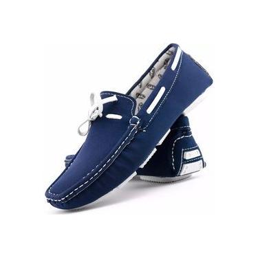 Mocassim Masculino Azul Cadarço Costura Reforçada Dockside