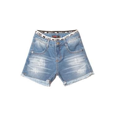 Short Jeans Infantil Oznes Menina Azul