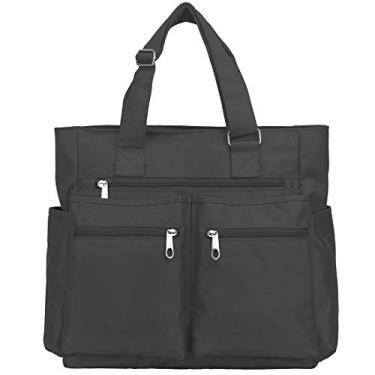 Bolsa sacola de lona de nylon impermeável com vários bolsos, bolsa de ombro para laptop, bolsa de trabalho, bolsa de professor e bolsas para mulheres e homens, Cinza, Large