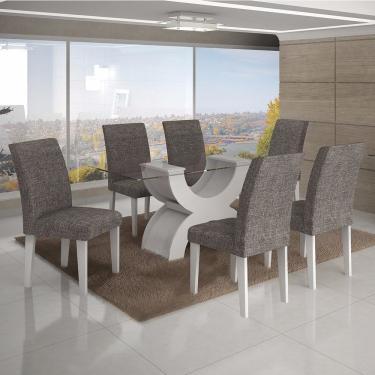 Conjunto Sala de Jantar Mesa Tampo Vidro 160cm 6 Cadeiras Olímpia New Leifer Branco/Linho Cinza